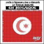 mosaïque contre le terrorisme et pour la démocratie